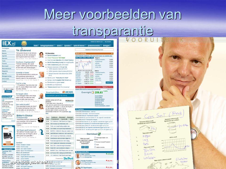 Meer voorbeelden van transparantie nov087www.todaysbeheer.nl