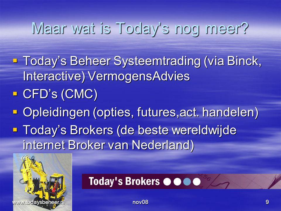 nov089 Maar wat is Today's nog meer?  Today's Beheer Systeemtrading (via Binck, Interactive) VermogensAdvies  CFD's (CMC)  Opleidingen (opties, fut