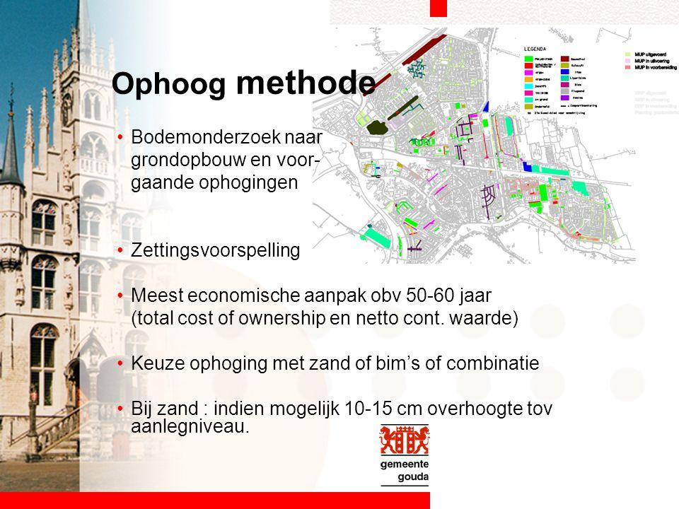Bodemonderzoek naar grondopbouw en voor- gaande ophogingen Zettingsvoorspelling Meest economische aanpak obv 50-60 jaar (total cost of ownership en ne