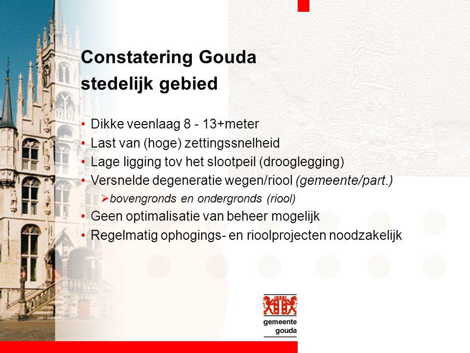 Constatering Gouda stedelijk gebied Dikke veenlaag 8 - 13+meter Last van (hoge) zettingssnelheid Lage ligging tov het slootpeil (drooglegging) Versnel