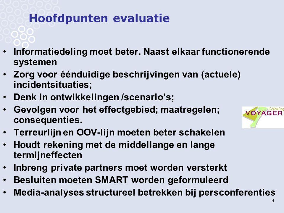 4 Hoofdpunten evaluatie Informatiedeling moet beter.