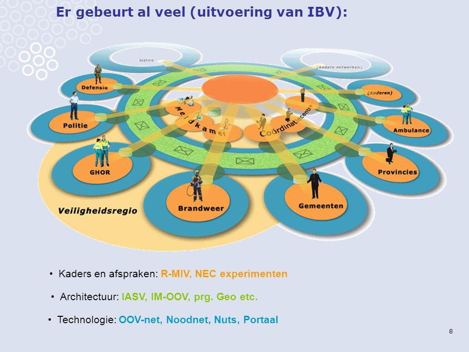 8 Er gebeurt al veel (uitvoering van IBV): Technologie: OOV-net, Noodnet, Nuts, Portaal Architectuur: IASV, IM-OOV, prg.