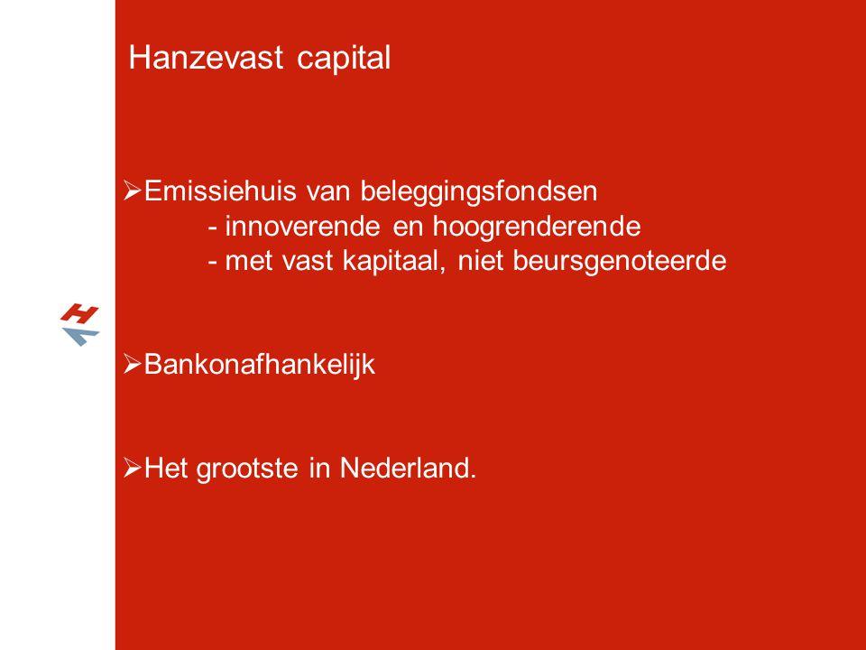 Hanzevast capital  Emissiehuis van beleggingsfondsen - innoverende en hoogrenderende - met vast kapitaal, niet beursgenoteerde  Bankonafhankelijk 