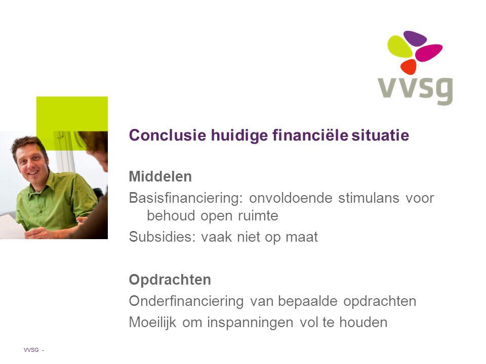 VVSG - Middelen Basisfinanciering: onvoldoende stimulans voor behoud open ruimte Subsidies: vaak niet op maat Opdrachten Onderfinanciering van bepaalde opdrachten Moeilijk om inspanningen vol te houden Conclusie huidige financiële situatie