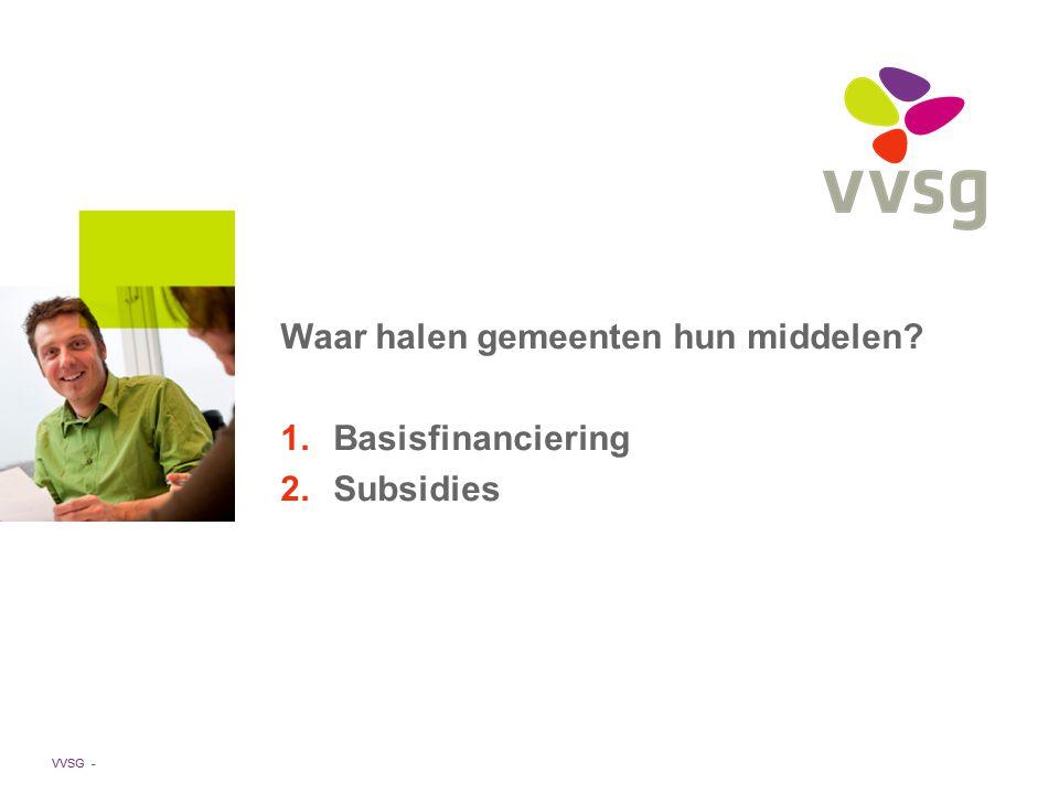 VVSG - Waar halen gemeenten hun middelen 1.Basisfinanciering 2.Subsidies