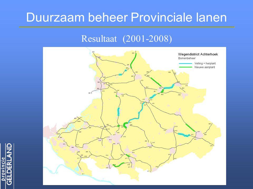 Duurzaam beheer Provinciale lanen Resultaat (2001-2008)