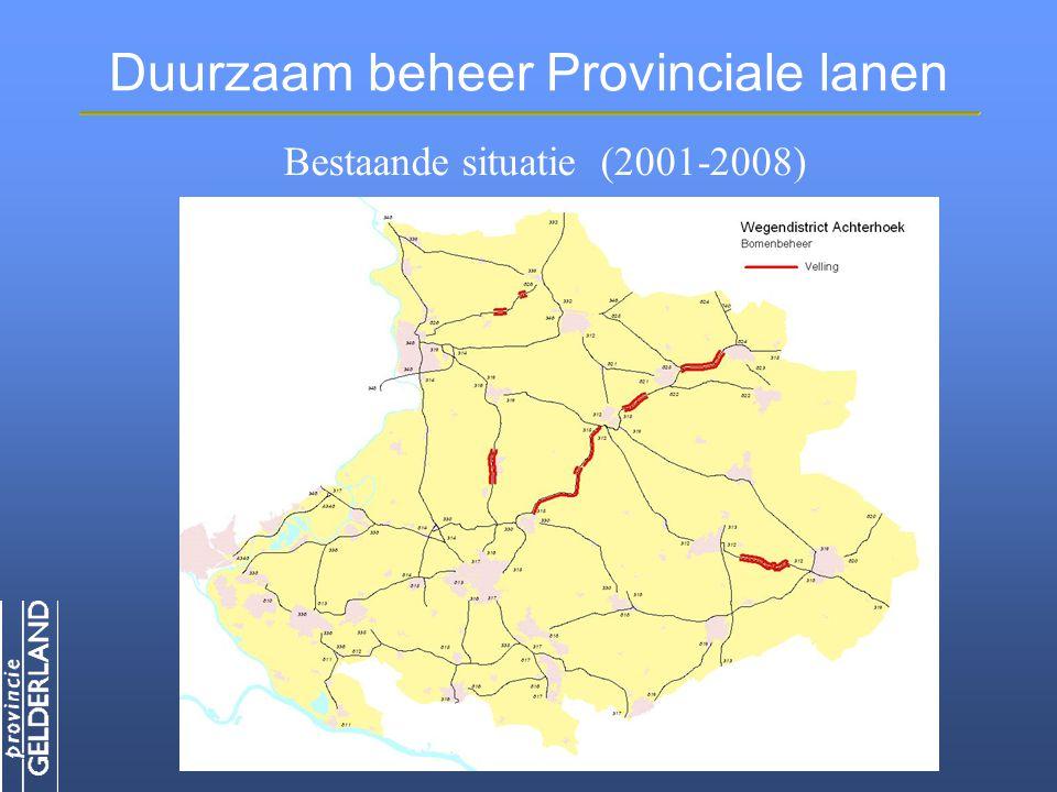 Duurzaam beheer Provinciale lanen Afstand tot kant weg aantal Van 0 tot 1 meter 9.250 Van 1 tot 2 meter 12.000 Van 2 tot 3 meter 6.250 Van 3 tot 4 meter 3.000 Meer dan 4 meter 5.250 Onbekend 2.750 Bestaande situatie