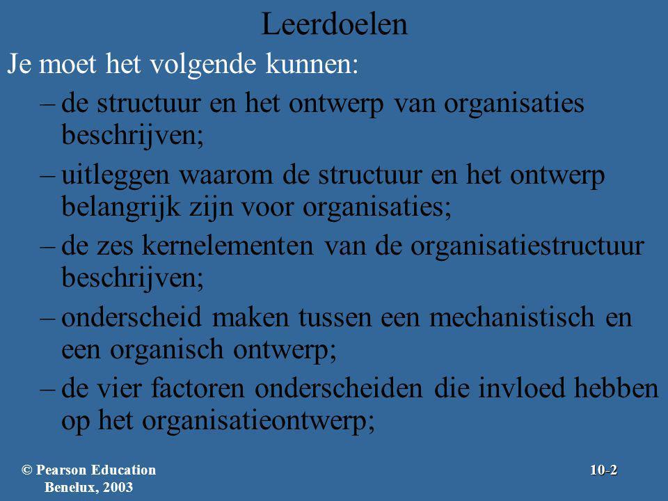 Leerdoelen (verv.) Je moet het volgende kunnen: –een eenvoudige structuur, een functionele structuur en een divisiestructuur beschrijven; –teamstructuren beschrijven en uitleggen waarom bedrijven deze structuren gebruiken; –matrixstructuren, projectstructuren, autonome interne units en grenzeloze organisaties beschrijven; –de lerende organisatie beschrijven en uitleggen wat dit betekent voor het organisatieontwerp.