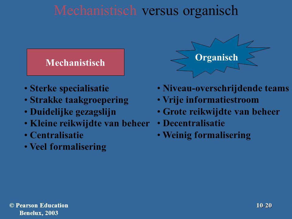 Mechanistisch versus organisch Sterke specialisatie Strakke taakgroepering Duidelijke gezagslijn Kleine reikwijdte van beheer Centralisatie Veel forma