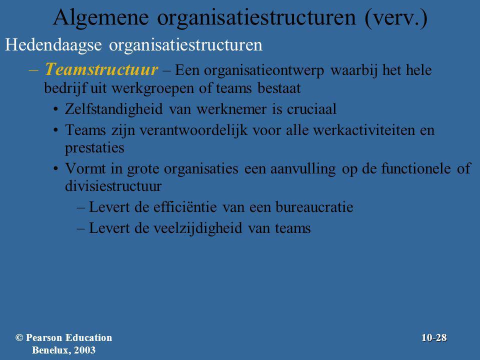 Algemene organisatiestructuren (verv.) Hedendaagse organisatiestructuren –Teamstructuur – Een organisatieontwerp waarbij het hele bedrijf uit werkgroe