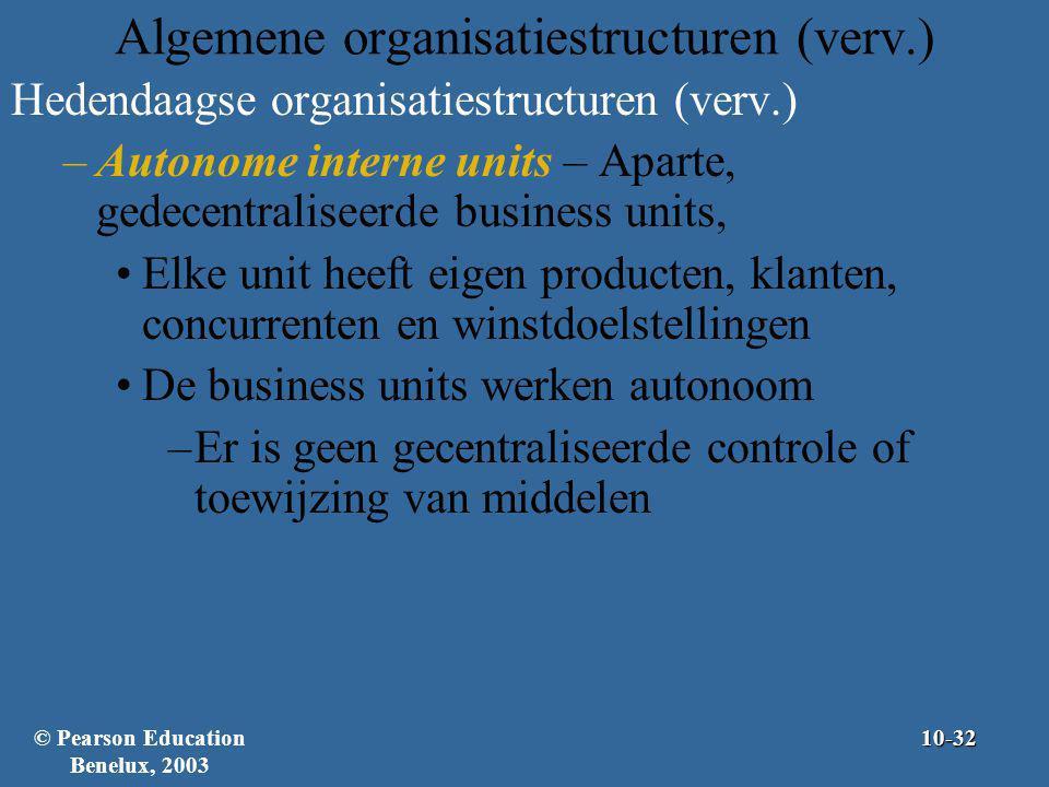 Algemene organisatiestructuren (verv.) Hedendaagse organisatiestructuren (verv.) –Autonome interne units – Aparte, gedecentraliseerde business units,