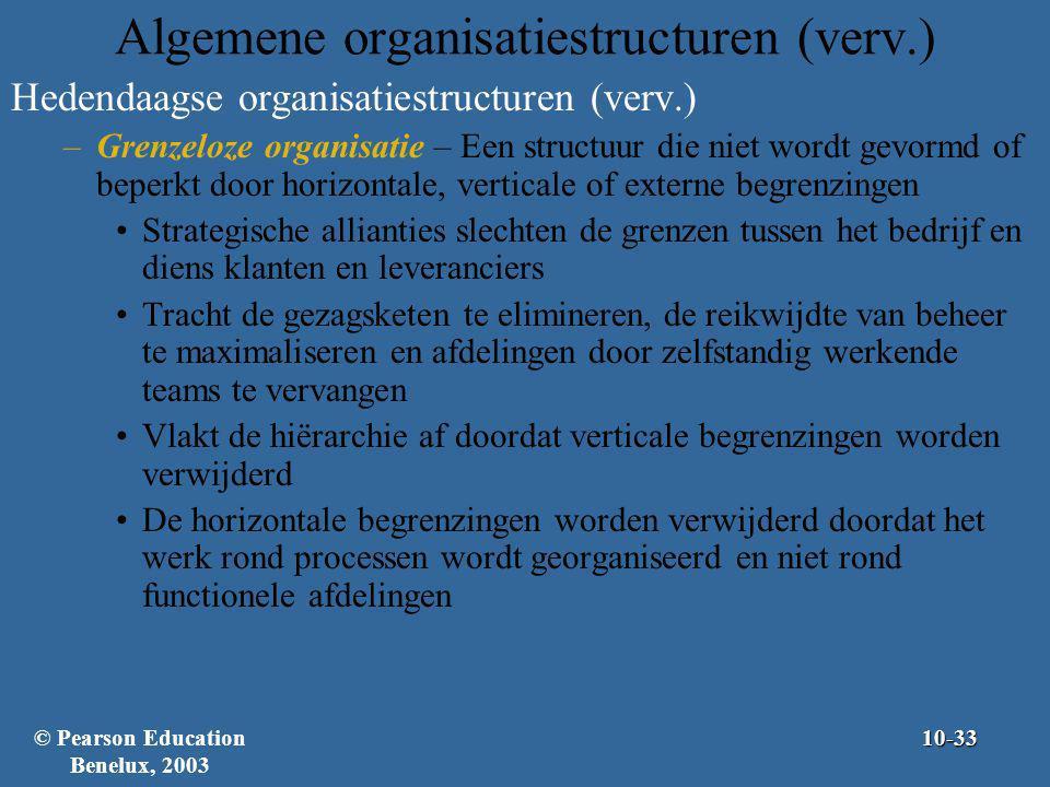 Algemene organisatiestructuren (verv.) Hedendaagse organisatiestructuren (verv.) –Grenzeloze organisatie – Een structuur die niet wordt gevormd of bep