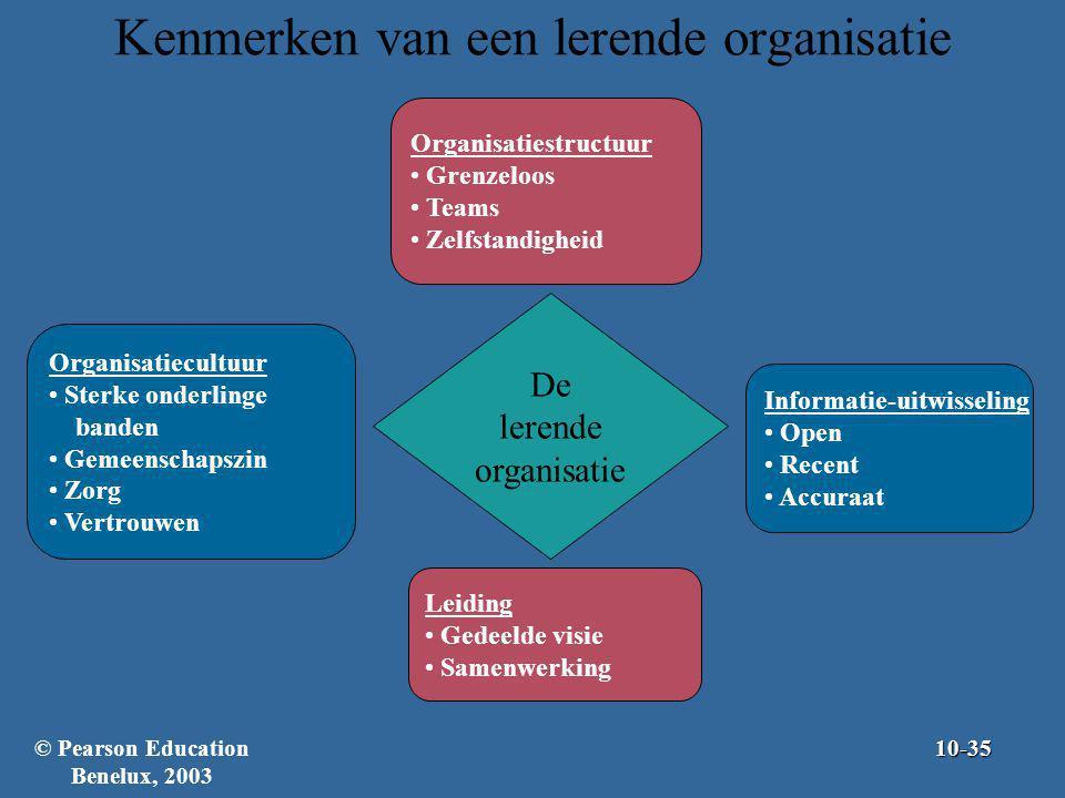 Kenmerken van een lerende organisatie Organisatiestructuur Grenzeloos Teams Zelfstandigheid Organisatiecultuur Sterke onderlinge banden Gemeenschapszi