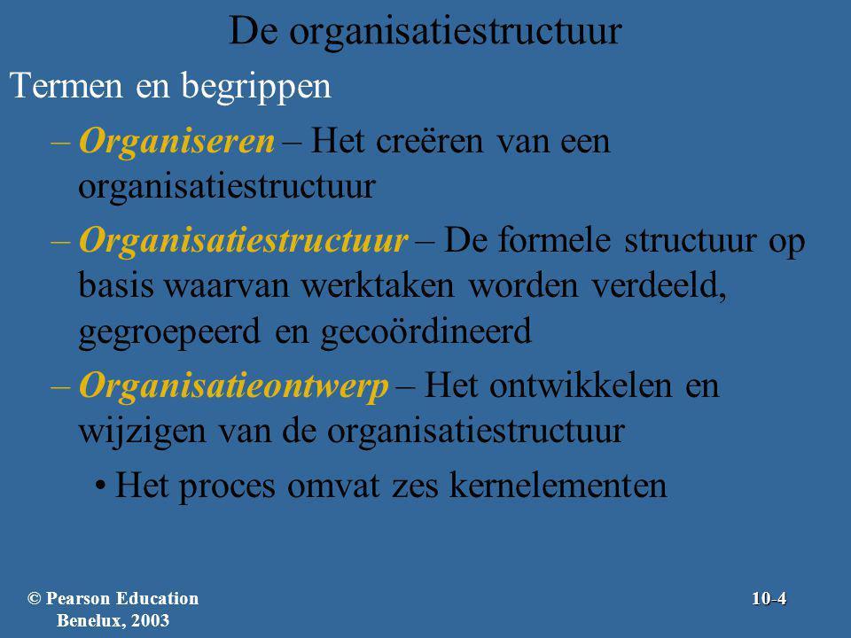 Algemene organisatiestructuren Conventionele organisatiestructuren –Eenvoudige structuur – Een organisatieontwerp met weinig taakgroepering, een grote reikwijdte van beheer, gecentraliseerd gezag en weinig formalisering Vaak toegepast in kleine bedrijven Als organisaties groter worden, raakt de structuur vaak meer gespecialiseerd en geformaliseerd –Functionele structuur – Een organisatieontwerp waarbij werkzaamheden die op elkaar lijken en aan elkaar zijn gerelateerd in groepen zijn ondergebracht © Pearson Education Benelux, 200310-25