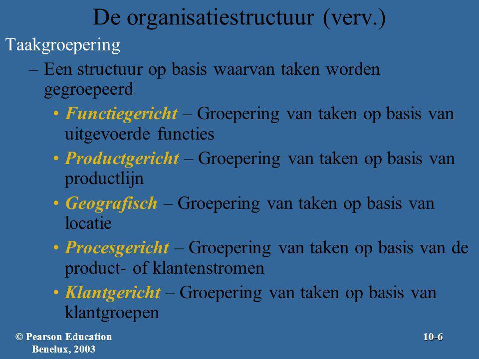 De organisatiestructuur (verv.) Taakgroepering –Een structuur op basis waarvan taken worden gegroepeerd Functiegericht – Groepering van taken op basis