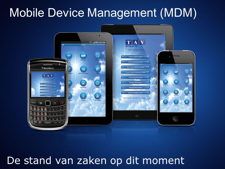 Uitspraken van fabrikanten Complete life-cycle management Vanuit de doos deployen nu nog niet mogelijk met MDM oplossingen Wel in de toekomst Apple Configurator