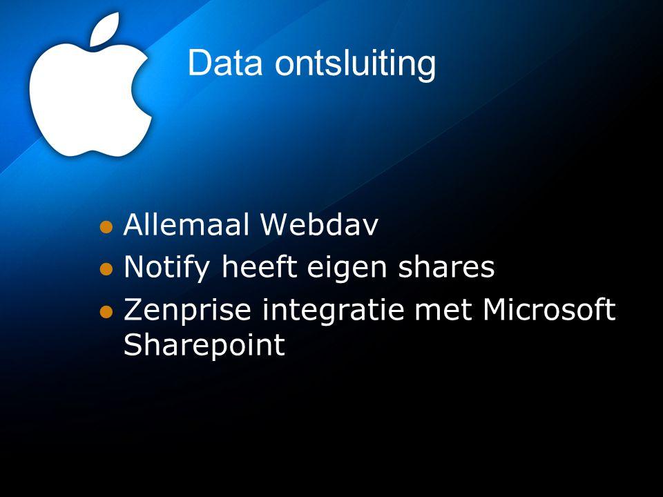 Data ontsluiting Allemaal Webdav Notify heeft eigen shares Zenprise integratie met Microsoft Sharepoint