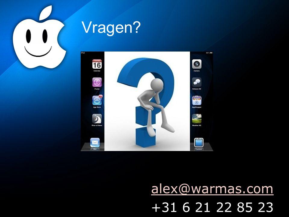 Vragen? alex@warmas.com +31 6 21 22 85 23