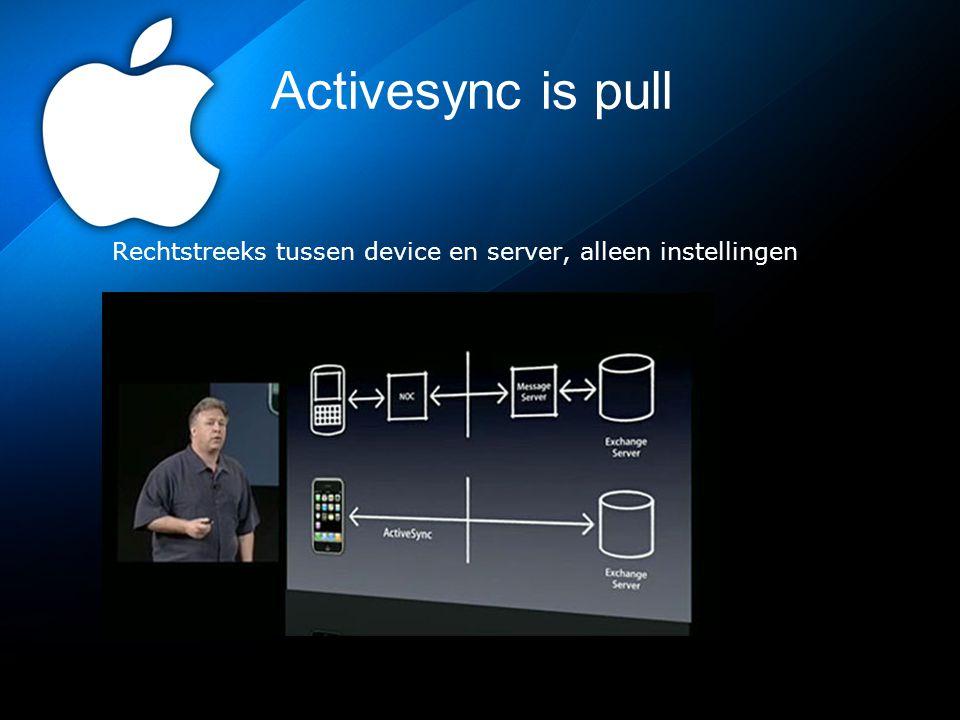 APNs is push == MDM Apple Push Notification servers Stuur instellingen, applicatie(s) en data naar het device via een server bij Apple