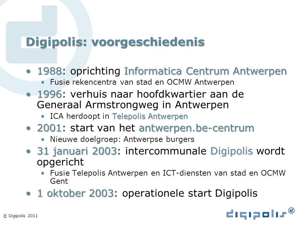 © Digipolis 2011 Digipolis: voorgeschiedenis 1988Informatica Centrum Antwerpen1988: oprichting Informatica Centrum Antwerpen Fusie rekencentra van sta