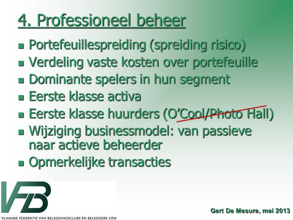 4. Professioneel beheer Portefeuillespreiding (spreiding risico) Portefeuillespreiding (spreiding risico) Verdeling vaste kosten over portefeuille Ver
