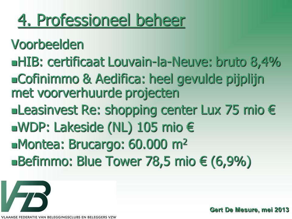 4. Professioneel beheer Voorbeelden HIB: certificaat Louvain-la-Neuve: bruto 8,4% HIB: certificaat Louvain-la-Neuve: bruto 8,4% Cofinimmo & Aedifica: