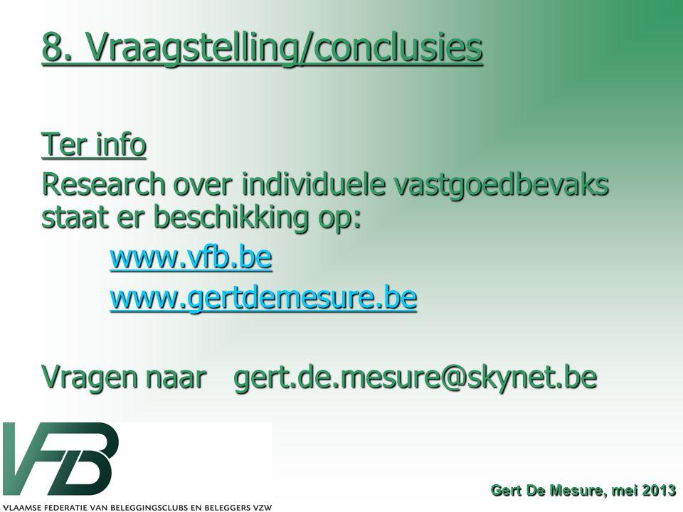 8. Vraagstelling/conclusies Ter info Research over individuele vastgoedbevaks staat er beschikking op: www.vfb.be www.gertdemesure.be Vragen naar gert