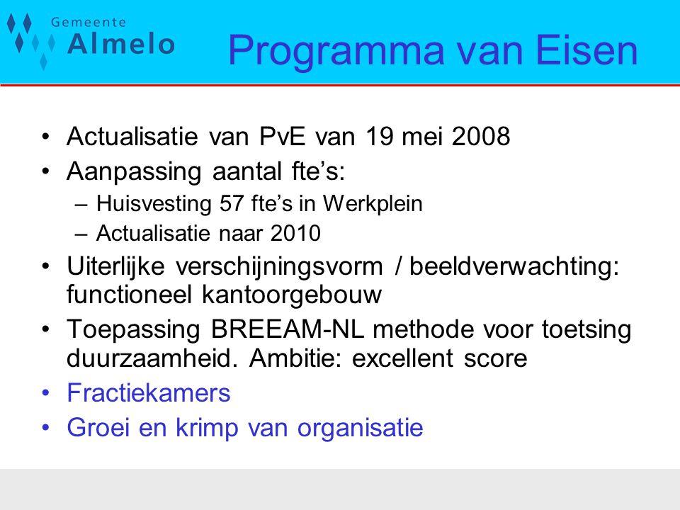Programma van Eisen Actualisatie van PvE van 19 mei 2008 Aanpassing aantal fte's: –Huisvesting 57 fte's in Werkplein –Actualisatie naar 2010 Uiterlijk