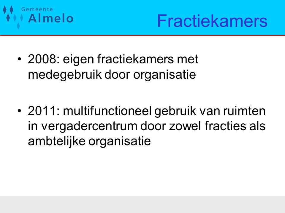 Fractiekamers 2008: eigen fractiekamers met medegebruik door organisatie 2011: multifunctioneel gebruik van ruimten in vergadercentrum door zowel frac