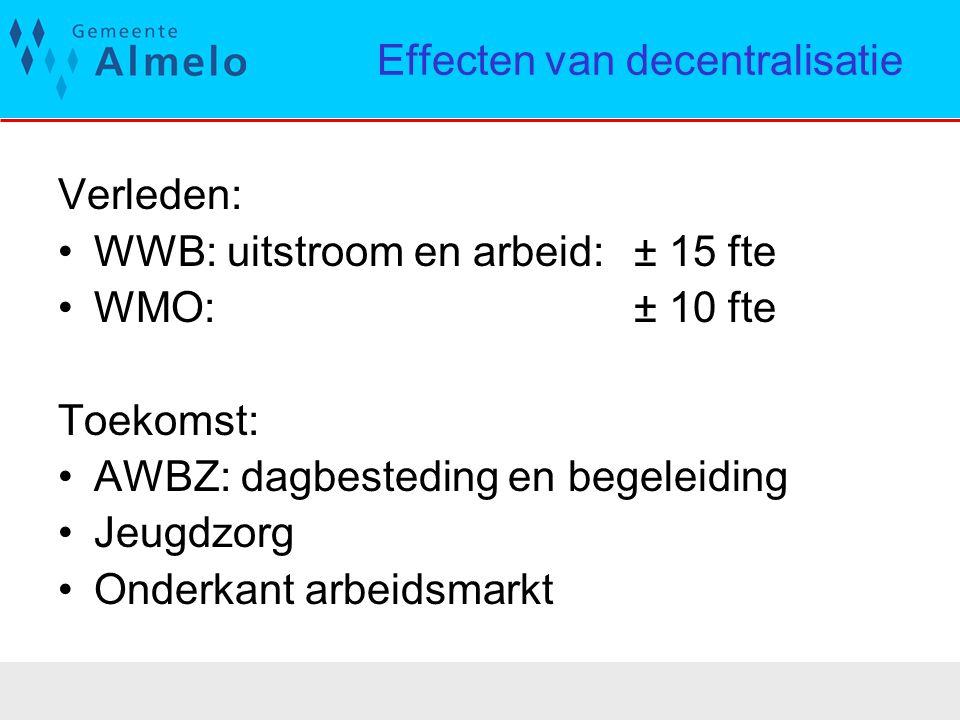 Effecten van decentralisatie Verleden: WWB: uitstroom en arbeid: ± 15 fte WMO: ± 10 fte Toekomst: AWBZ: dagbesteding en begeleiding Jeugdzorg Onderkan