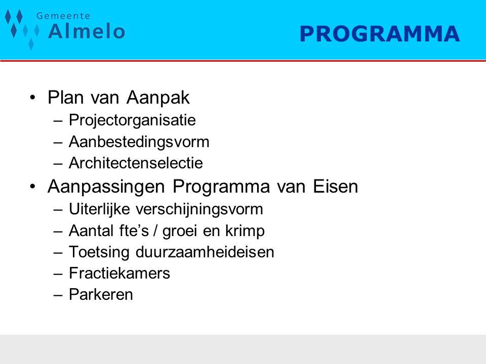 PROGRAMMA Plan van Aanpak –Projectorganisatie –Aanbestedingsvorm –Architectenselectie Aanpassingen Programma van Eisen –Uiterlijke verschijningsvorm –