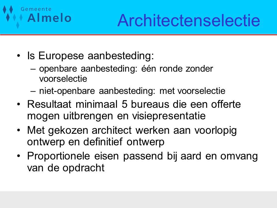 Architectenselectie Is Europese aanbesteding: –openbare aanbesteding: één ronde zonder voorselectie –niet-openbare aanbesteding: met voorselectie Resu
