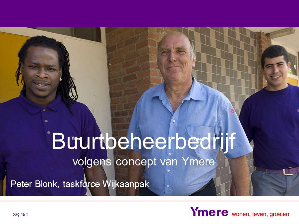 pagina 1 Buurtbeheerbedrijf volgens concept van Ymere Peter Blonk, taskforce Wijkaanpak