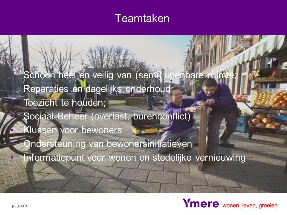 pagina 5 Teamtaken Schoon heel en veilig van (semi) openbare ruimte; Reparaties en dagelijks onderhoud Toezicht te houden; Sociaal Beheer (overlast, b