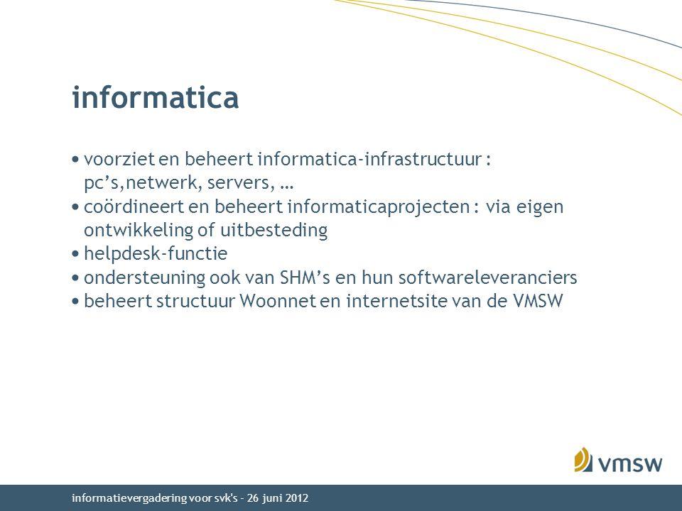 informatievergadering voor svk s - 26 juni 2012 informatica voorziet en beheert informatica-infrastructuur : pc's,netwerk, servers, … coördineert en beheert informaticaprojecten : via eigen ontwikkeling of uitbesteding helpdesk-functie ondersteuning ook van SHM's en hun softwareleveranciers beheert structuur Woonnet en internetsite van de VMSW
