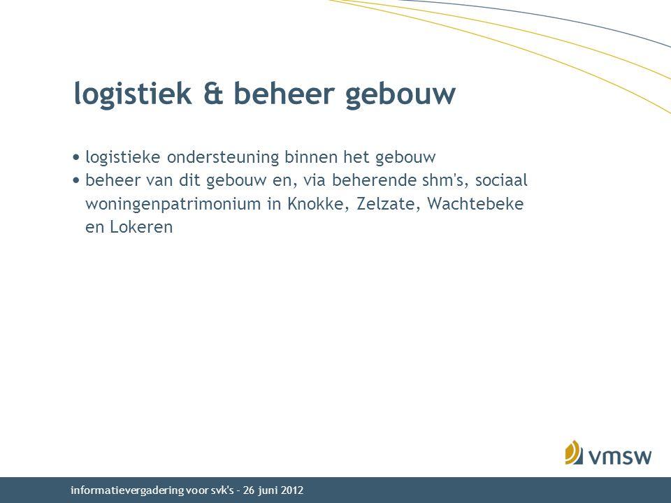 informatievergadering voor svk s - 26 juni 2012 logistiek & beheer gebouw logistieke ondersteuning binnen het gebouw beheer van dit gebouw en, via beherende shm s, sociaal woningenpatrimonium in Knokke, Zelzate, Wachtebeke en Lokeren