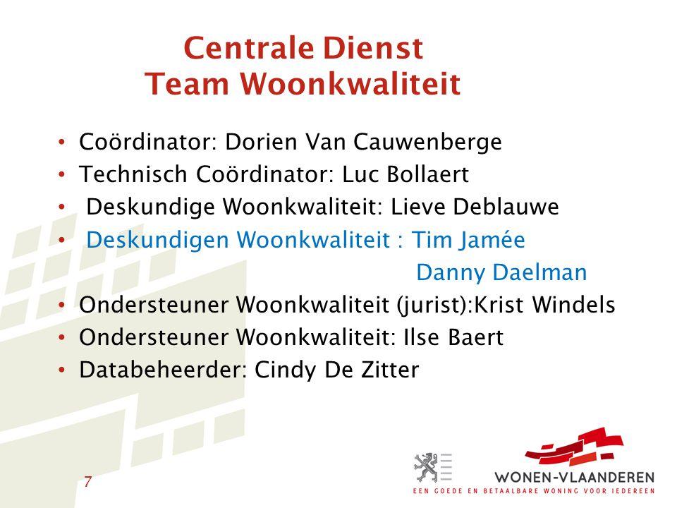 8 Team onderzoekers (Brussel): Jan Crombez Eric Vanderhispallie Geert Bourguignon Herman Van Molle Administratieve ondersteuning: Sandra Caes Coördinator voor de 5 decentrale diensten: Ivan Peeters ( Wonen Antwerpen )