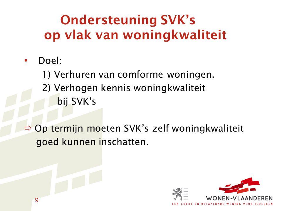 9 Ondersteuning SVK's op vlak van woningkwaliteit Doel: 1) Verhuren van comforme woningen.