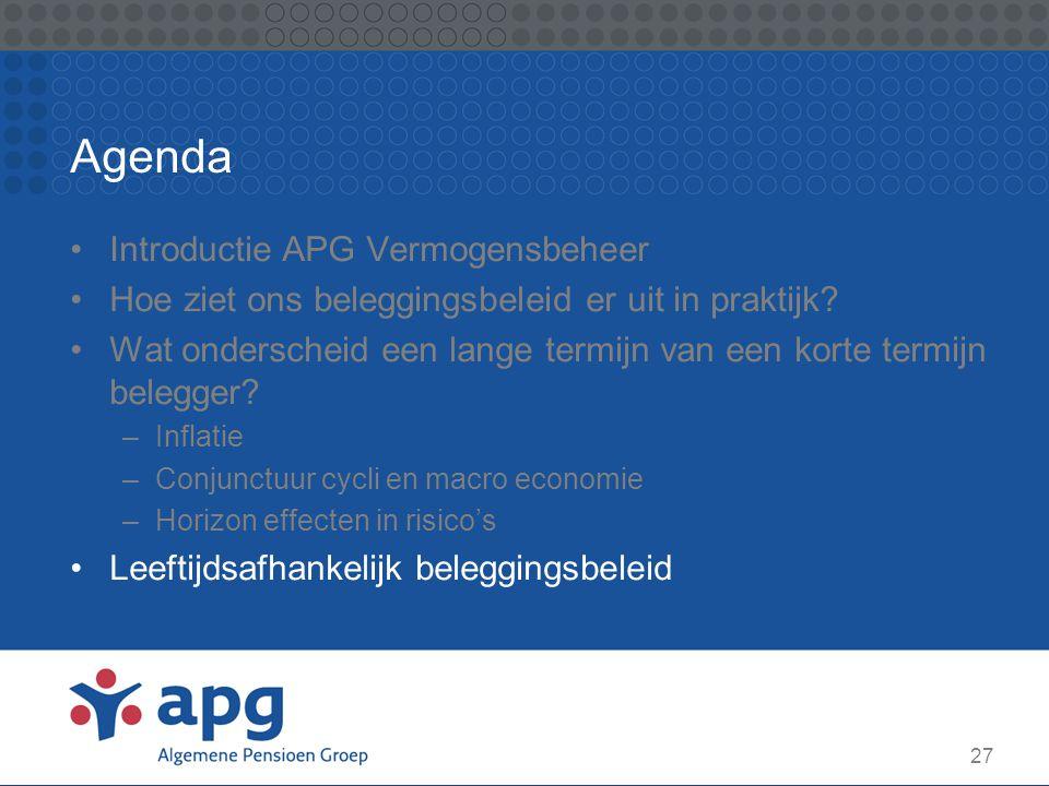 27 Agenda Introductie APG Vermogensbeheer Hoe ziet ons beleggingsbeleid er uit in praktijk? Wat onderscheid een lange termijn van een korte termijn be