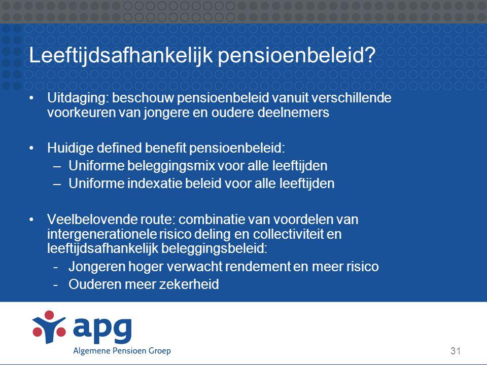 31 Leeftijdsafhankelijk pensioenbeleid? Uitdaging: beschouw pensioenbeleid vanuit verschillende voorkeuren van jongere en oudere deelnemers Huidige de