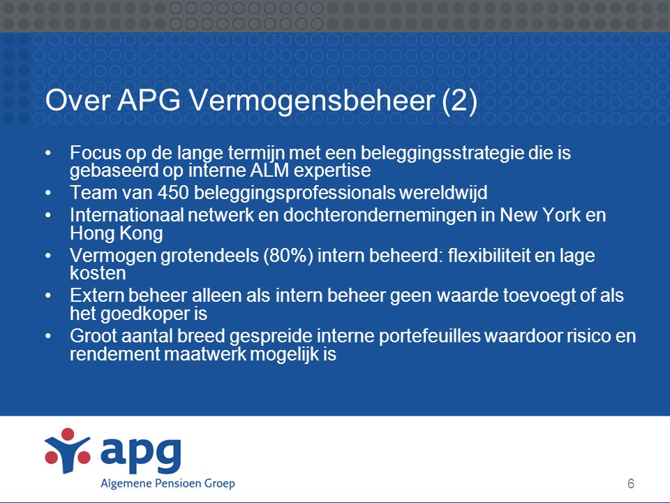 6 Over APG Vermogensbeheer (2) Focus op de lange termijn met een beleggingsstrategie die is gebaseerd op interne ALM expertise Team van 450 beleggings