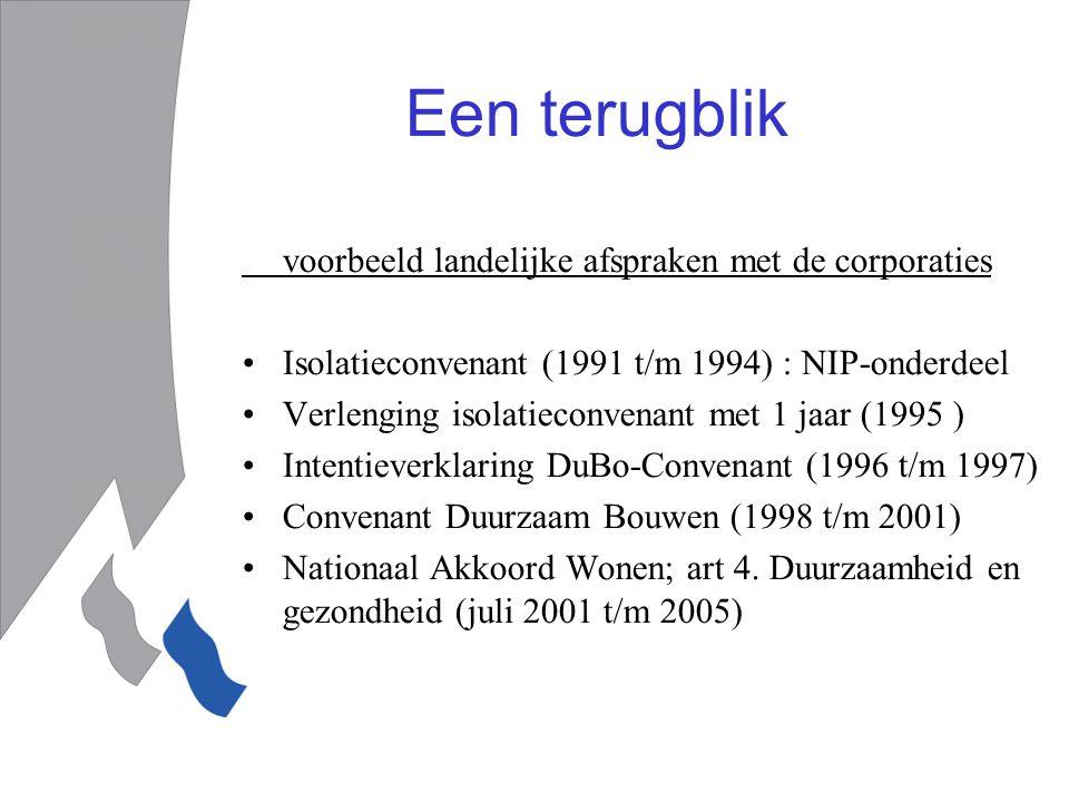 Een terugblik voorbeeld landelijke afspraken met de corporaties Isolatieconvenant (1991 t/m 1994) : NIP-onderdeel Verlenging isolatieconvenant met 1 jaar (1995 ) Intentieverklaring DuBo-Convenant (1996 t/m 1997) Convenant Duurzaam Bouwen (1998 t/m 2001) Nationaal Akkoord Wonen; art 4.