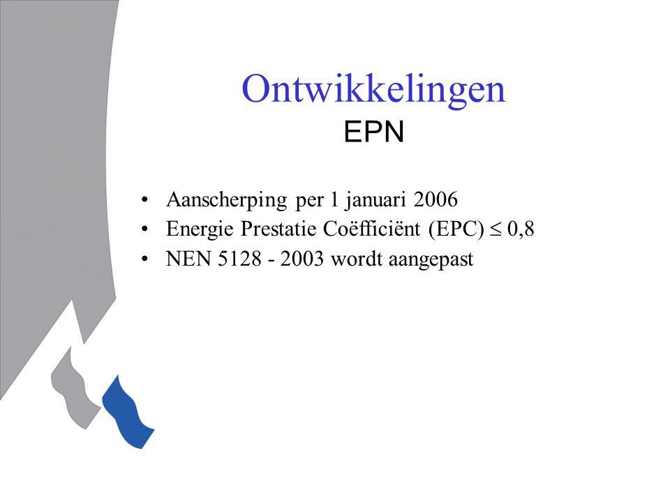 EPN Aanscherping per 1 januari 2006 Energie Prestatie Coëfficiënt (EPC)  0,8 NEN 5128 - 2003 wordt aangepast
