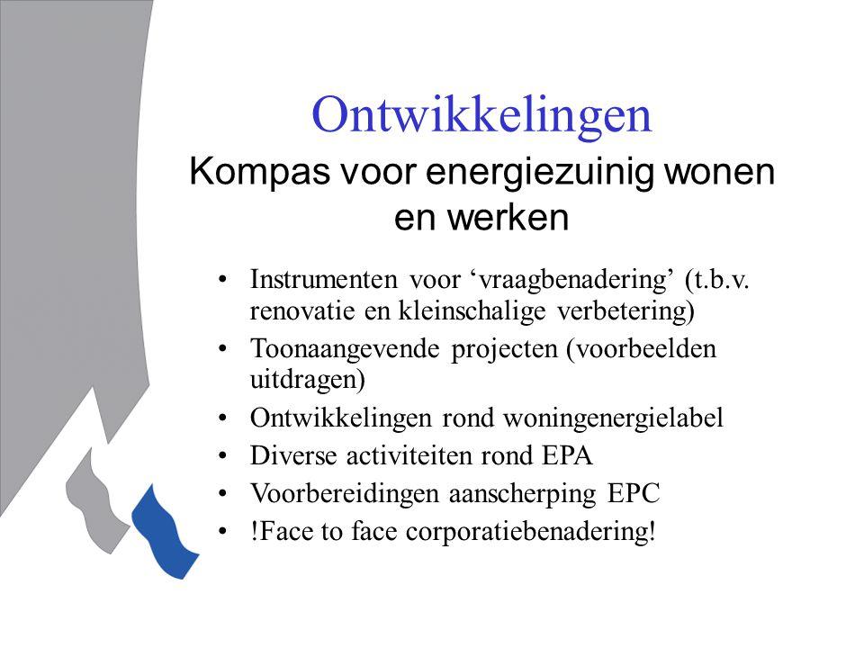 Ontwikkelingen Kompas voor energiezuinig wonen en werken Instrumenten voor 'vraagbenadering' (t.b.v.