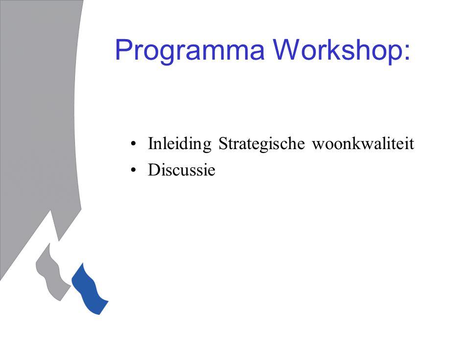 Programma Workshop: Inleiding Strategische woonkwaliteit Discussie