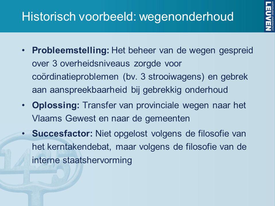 Historisch voorbeeld: wegenonderhoud Probleemstelling: Het beheer van de wegen gespreid over 3 overheidsniveaus zorgde voor coördinatieproblemen (bv.