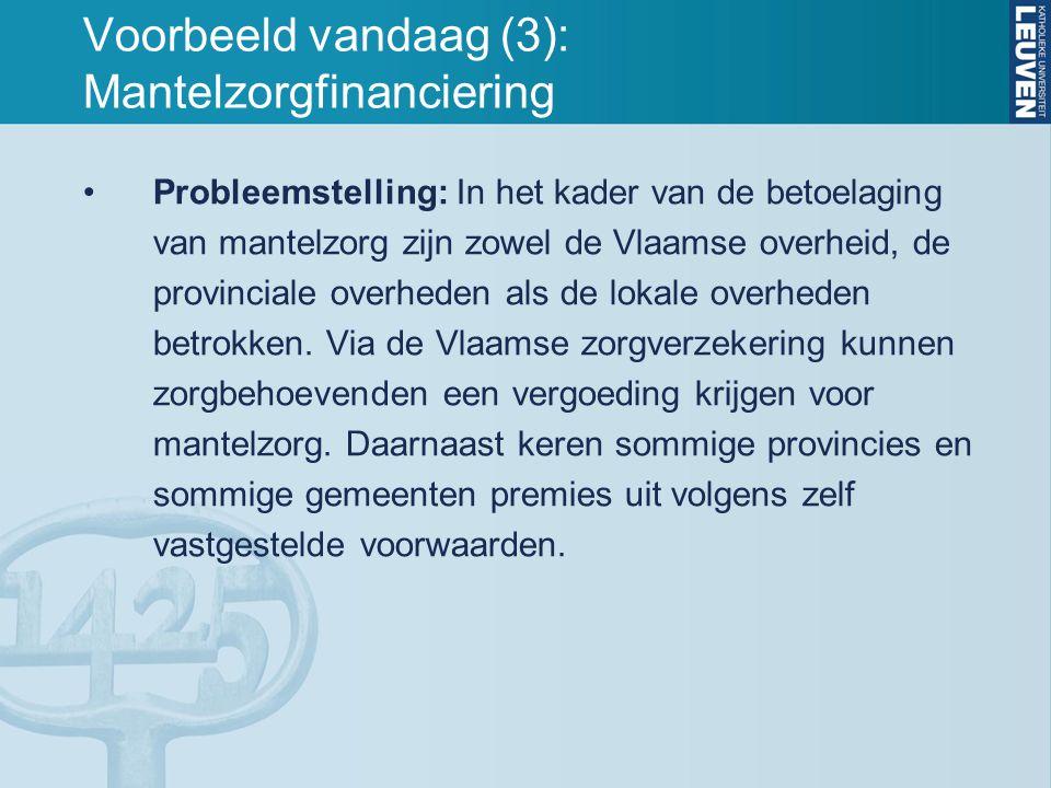 Voorbeeld vandaag (3): Mantelzorgfinanciering Probleemstelling: In het kader van de betoelaging van mantelzorg zijn zowel de Vlaamse overheid, de prov