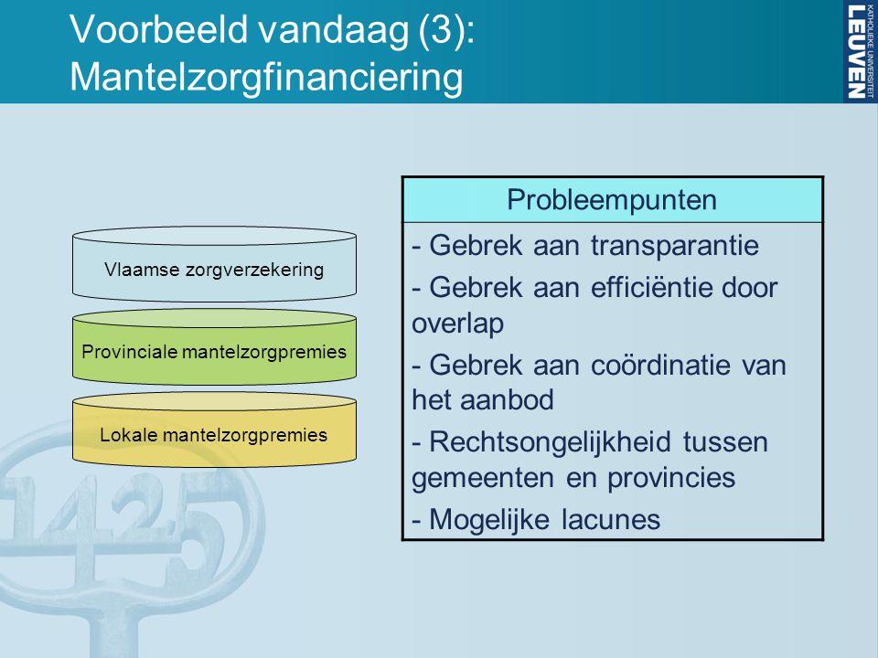 Voorbeeld vandaag (3): Mantelzorgfinanciering Vlaamse zorgverzekering Provinciale mantelzorgpremies Lokale mantelzorgpremies Probleempunten - Gebrek a