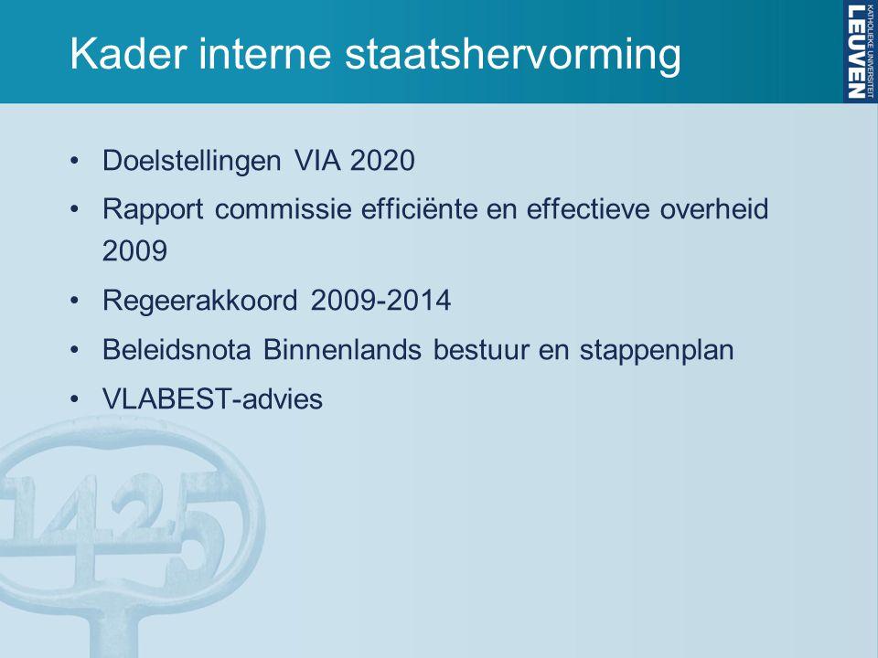 Kader interne staatshervorming Doelstellingen VIA 2020 Rapport commissie efficiënte en effectieve overheid 2009 Regeerakkoord 2009-2014 Beleidsnota Bi