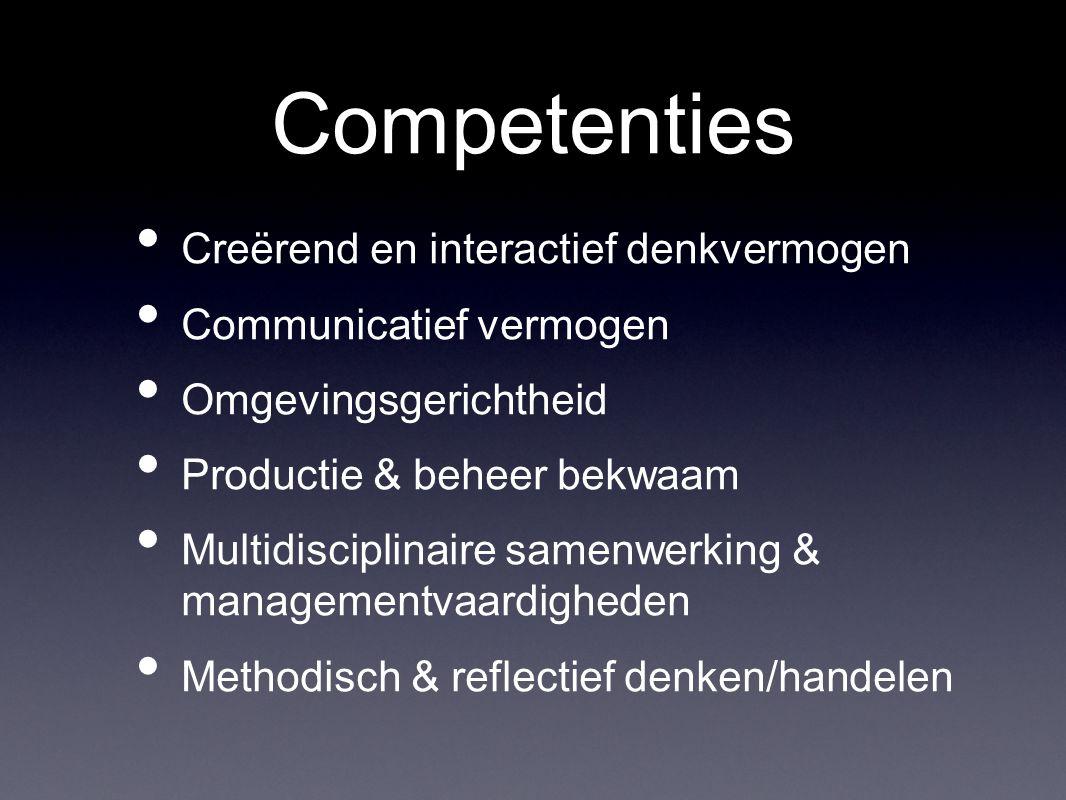 Competenties Creërend en interactief denkvermogen Communicatief vermogen Omgevingsgerichtheid Productie & beheer bekwaam Multidisciplinaire samenwerking & managementvaardigheden Methodisch & reflectief denken/handelen